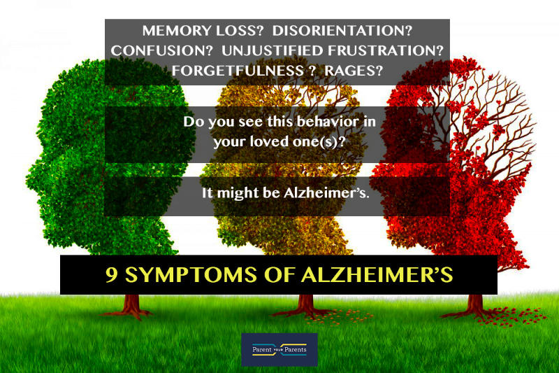 nine symptoms of alzheimer's